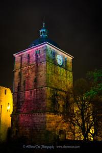 Heidelberg Castle Clock Tower Illuminated During Festival of Lights