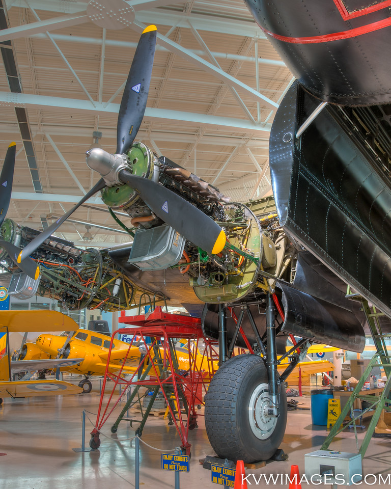 Engine covers removed, one of only two Lancaster Bombers still flying. Canadian Warplane Heritage Museum