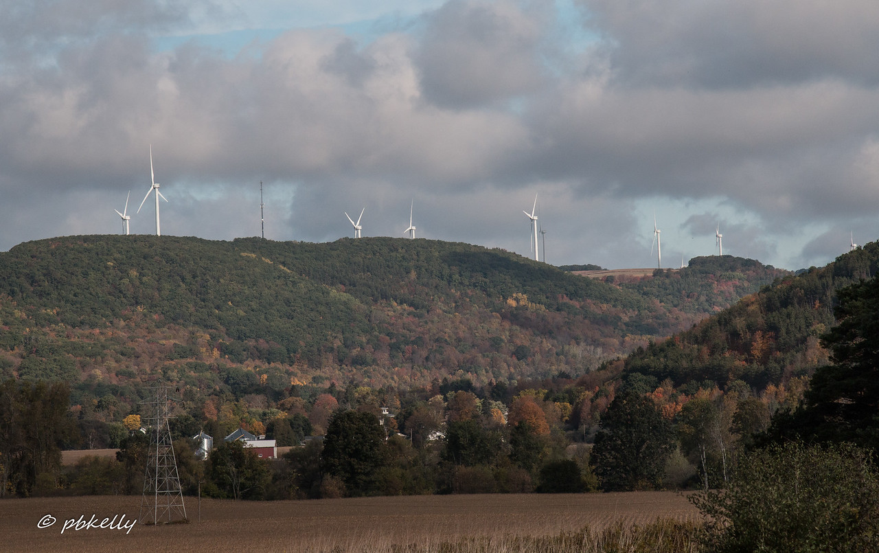 Interesting mix.  Field, Farm and Wind Farm.  Rte 390 outside Cohocton.