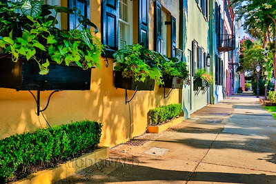 Shadows at Rainbow Row in Charleston, S.C.