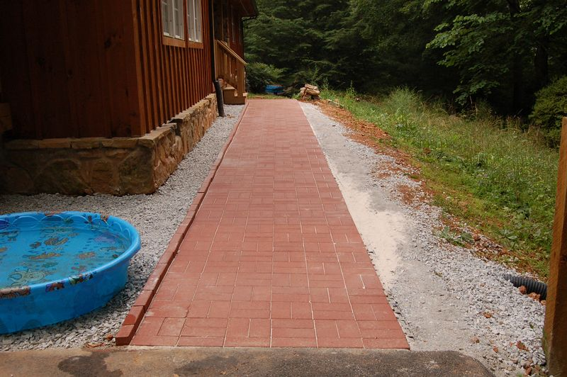 brick paver walkway to old front porch