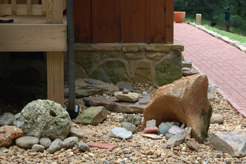 new rock garden in front of house: Aug 2005