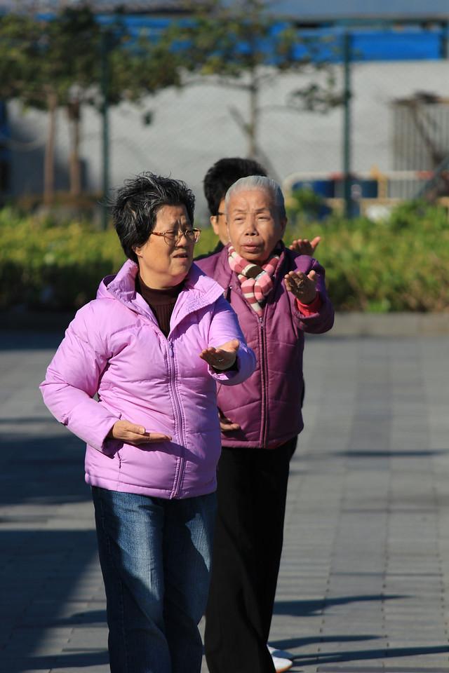 Seniors doing Tai Chi, Hong Kong Island, Hong Kong
