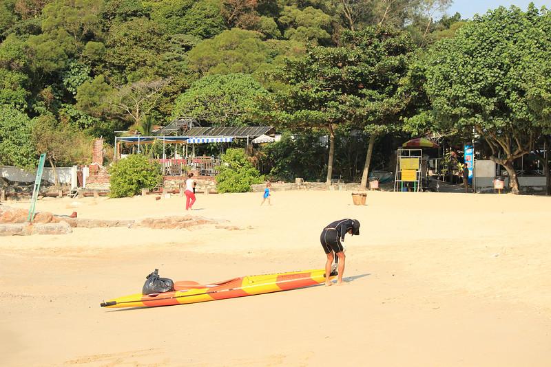 Lifeguard at Hung Shing Ye beach, Lamma Island, Hong Kong
