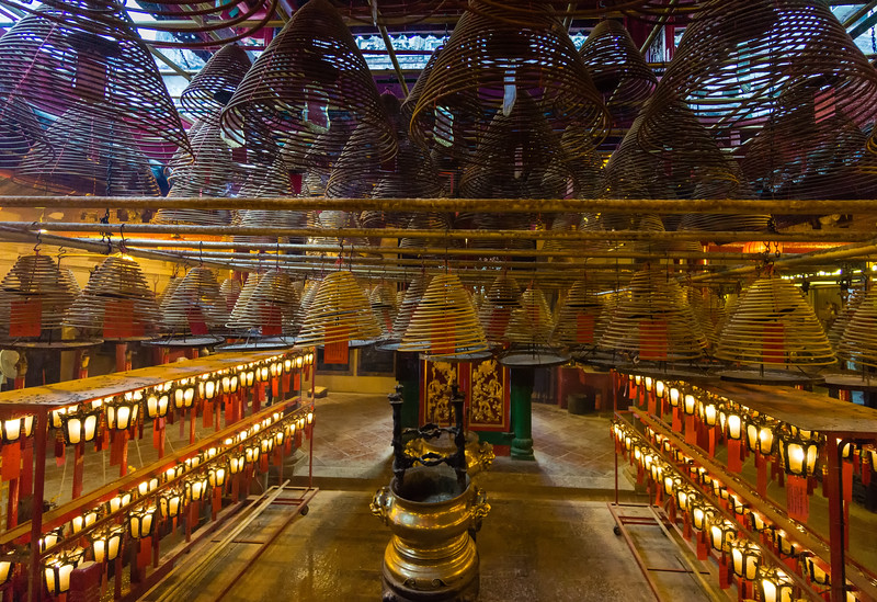 Incense Spirals - Man Mo Temple<br /> Hong Kong, People's Republic of China<br /> 2015