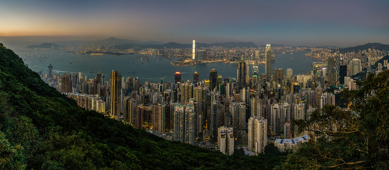 Nightfall over Hong Kong<br /> Hong Kong, People's Republic of China<br /> 2015<br /> (Stitched Panorama)