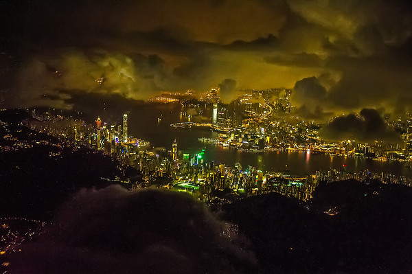 Hong Kong by night.  12th August, 2015  Photo by: Stephen Hindley©