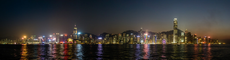 Nighttime Skyline Hong Kong Island<br /> Hong Kong, People's Republic of China<br /> 2015<br /> (Stitched Panorama)