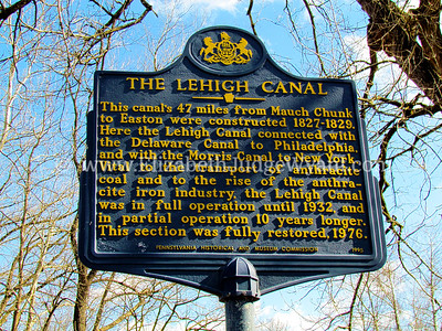 This canal's 47 miles from Mauch Chunk to Easton were constructed 1827-1829. Here the Lehigh Canal connected with the Delaware Canal to Philadelphia, and with the Morris Canal to New York. Vital to the transport of anthracite coal and to the rise of the anthracite iron industry, the Lehigh Canal was in full operation until 1932, and in partial operation 10 years longer. This section was fully restored, 1976.