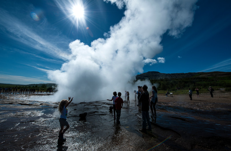 At Strokkur, the most active geyser in Iceland, eruption every few minutes.