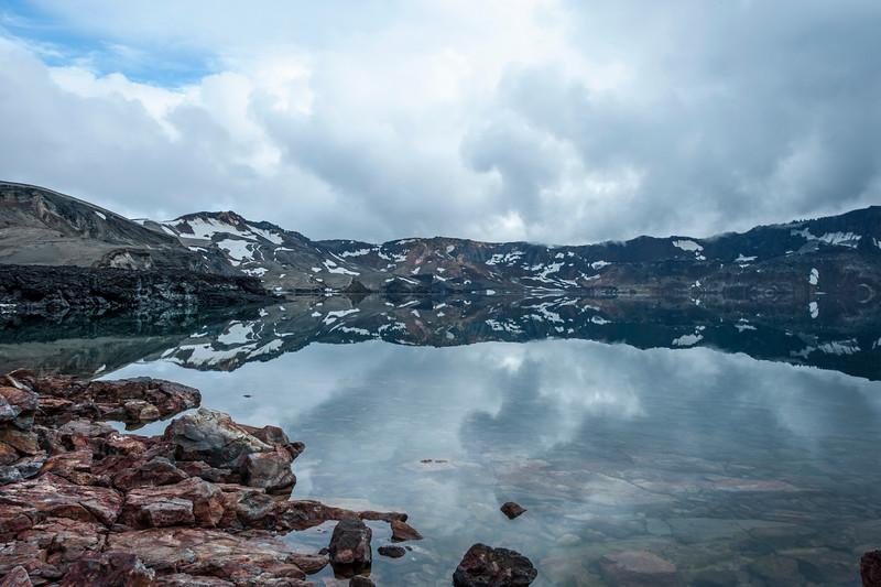 Volcano lake in Askja of Iceland