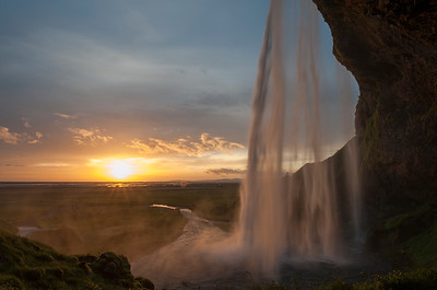 Seljalandsfoss in Southern Iceland, at sunset