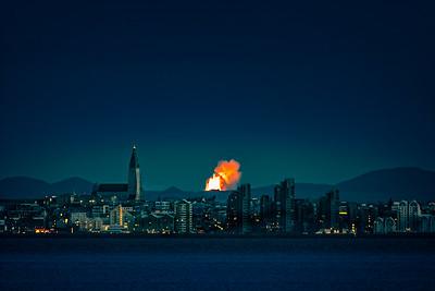 Reykjavik Iceland with Volcano in Background   Copyright 2021 Steve Leimberg UnSeenImages Com _DSC3635 copy