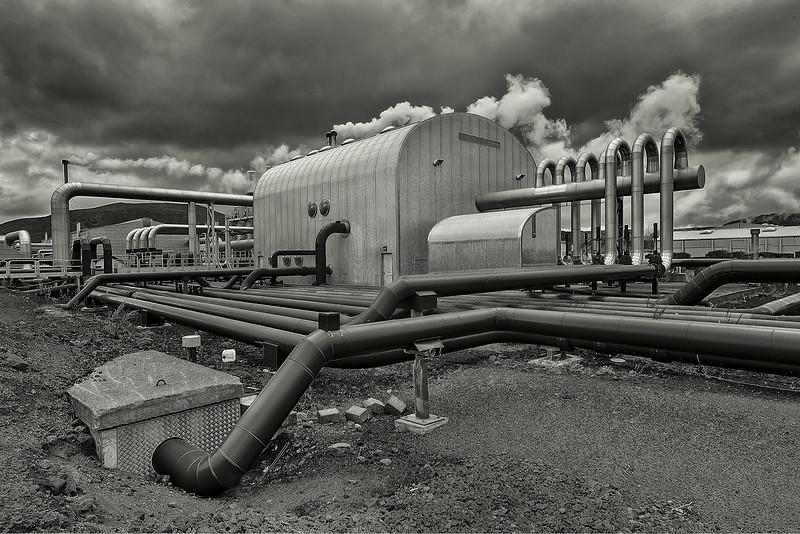 Pipes and Steam - Geothermal Plant - Iceland B&W - Copyright 2015 Steve Leimberg - UnSeenImages Com _U0U5969