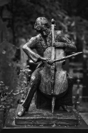 Cellist Front View - Cemetary Reykavik Iceland - B&W Copyright 2015 Steve Leimberg - UnSeenImages