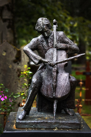 Cellist Front View - Cemetary Reykavik Iceland - Copyright 2015 Steve Leimberg - UnSeenImages