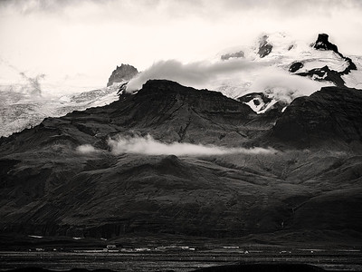 Mountain Above Village Iceland B&W Copyright 2021 Steve Leimberg UnSeenImages Com _DSF1642
