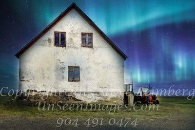 Farmhouse and Tractor in Northern Lights - PAINTING - Copyright 2017 Steve Leimberg - UnSeenImages Com _Z2A0948