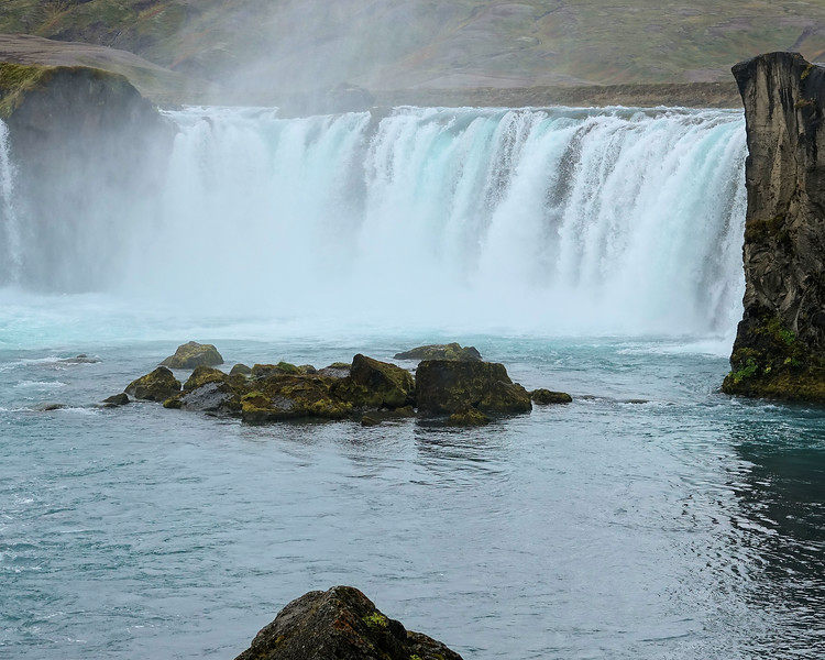 Godafoss Falls - The water of the river Skjálfandafljót falls from a height of 12 metres over a width of 30 metres.