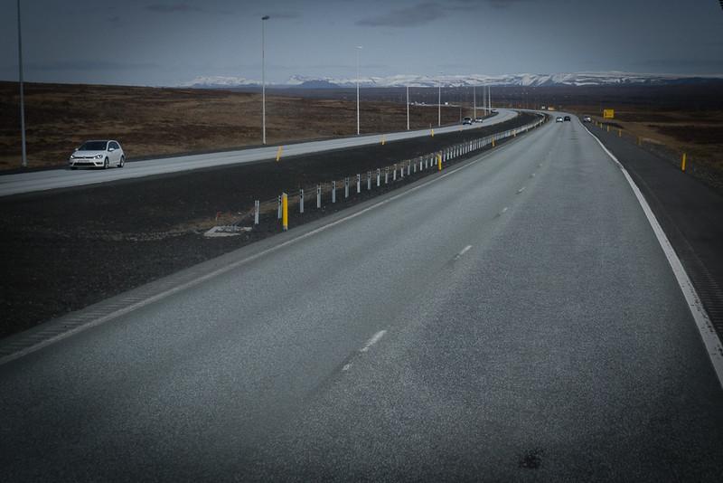 The road from Keflavik Airport into Rekyjavik
