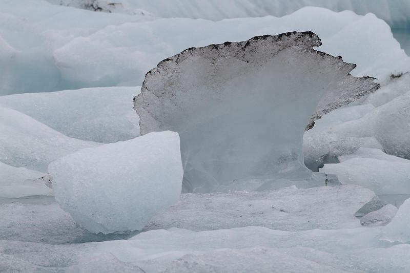Seta de hielo sucio resaltada por el bloque en primer plano que la moldea y completa en 2D