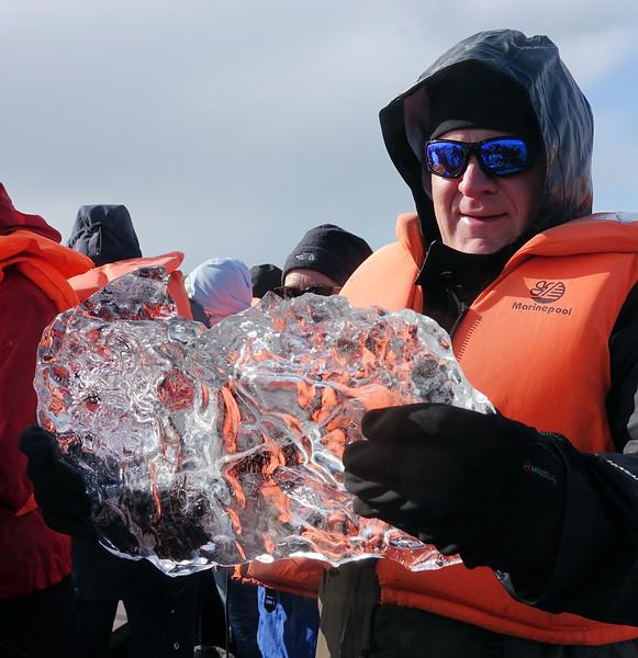 Boat ride on Jokulsarlon Glacier picking up ice