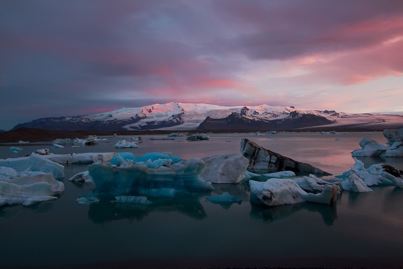 <H3>Jokulsarlon Magic Hour </H3>  This truly felt like magic in the air as the shades of colors danced over and around the iceberg lagoon - elemental and inspirational.