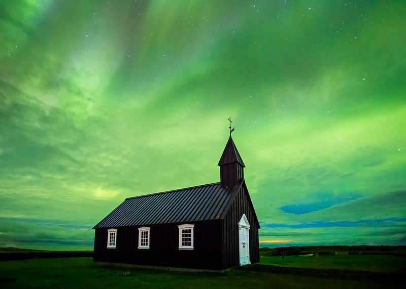 Aurora over Black Church in Búðir