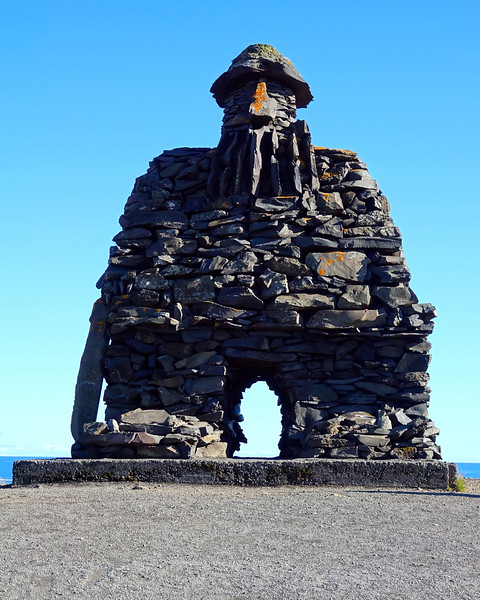 Bárðar Saga Snæfellsáss Statue - The clifftop, seaside walk between Arnarstapi and Hellnar on the southern Snæfellsnes peninsula