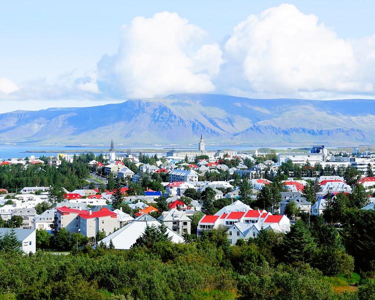 City view of Reykjavik and Mt. Esja