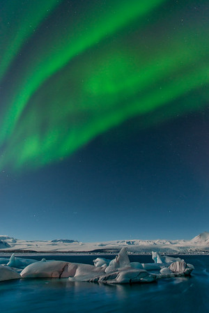 The northern lights over the Jokulsarlon Ice Lagoon.