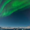 The northern lights over the Jokulsarlon Ice Lagoon.