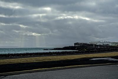 Sun rays over Reykjanesbær