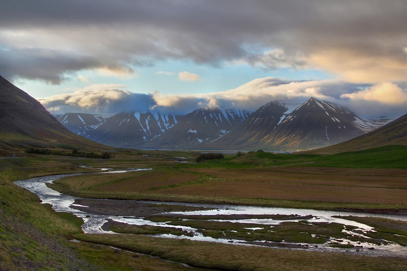 <H3> Peaks and Valleys </H3> A typical scene in WestFjords Region of Iceland.