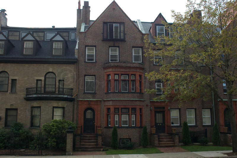 Old Rowhouses on Elm St. Former Furrier Cold storage place at left,
