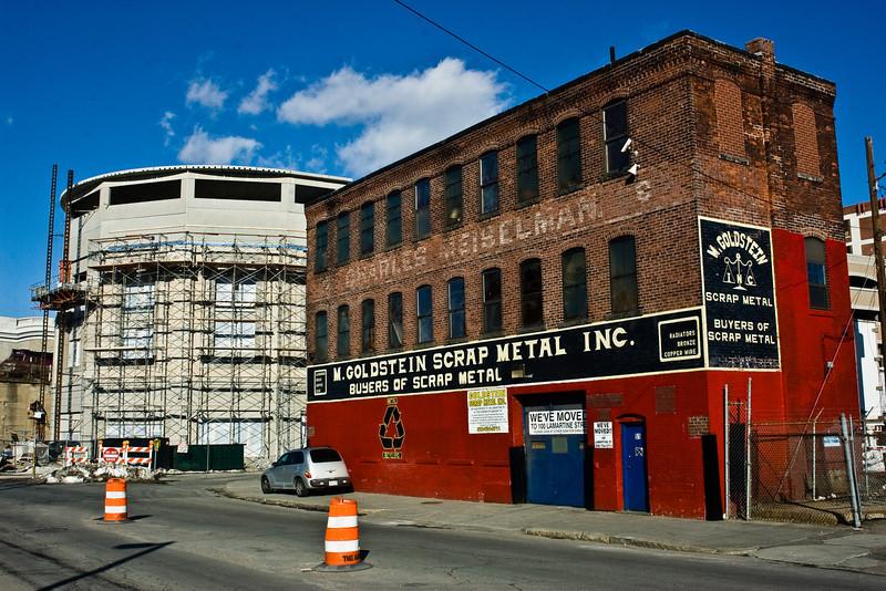 Goldstein Scrap Metal painted brick sign.