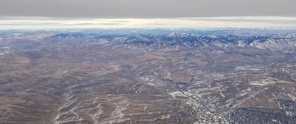 Sawtooth mountains, Idaho, looking East as we leave Boise toward Seattle