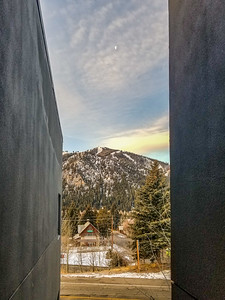 Moon setting to West from Hotel Ketchum, Ketchum, Idaho