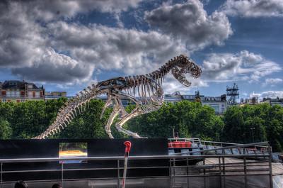 Tyrannosaurus Rex on the Banks of the River Seine, Paris, France