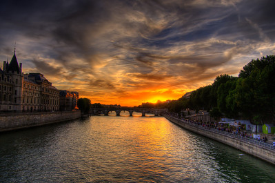 Sunset at the Pont Neuf, Paris, France