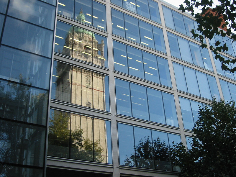 Queen's Tower reflected in the Alexander Flemming building at the Imperial College Campus in South Kensington.