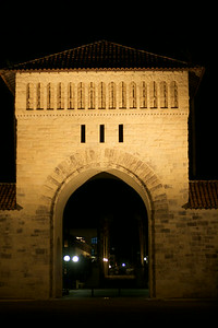 Stanford quad at night, facing Palo Alto
