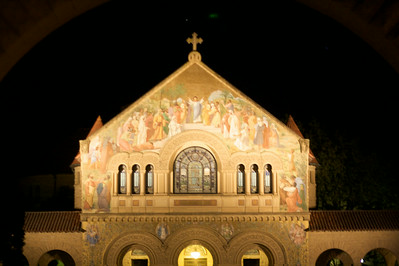 Stanford chapel at night