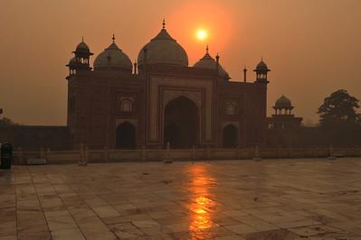 Sunrise on the grounds of the Taj Mahal