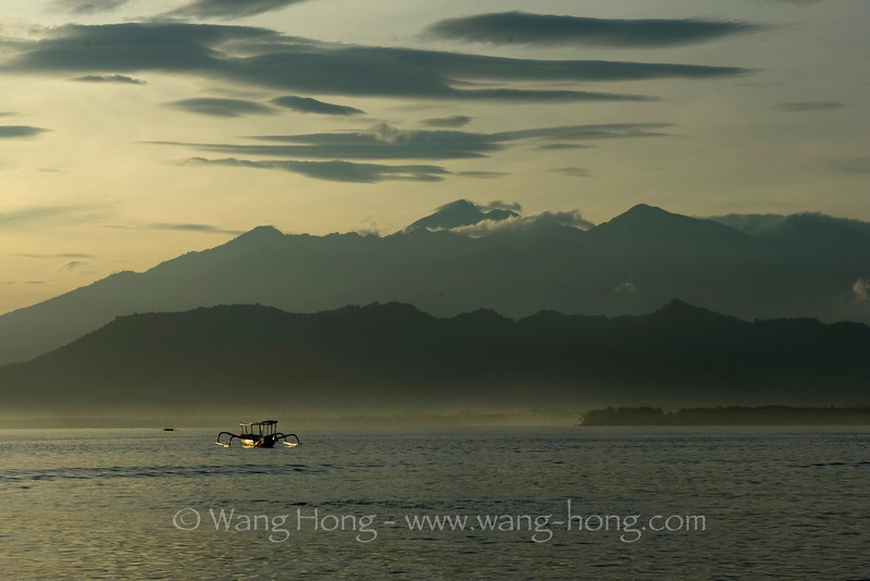 Mt. Rinjani from Gili Air Island very early in the morning