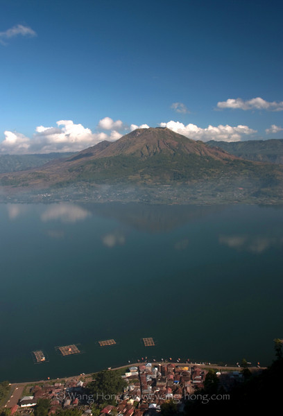 Mt. Batur and village in the morning.