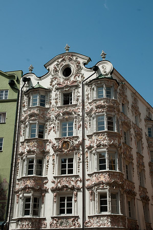 The original 15th century Gothic mansion 'Helbling-Haus'. Decorated in 1730 with a unique stucco façade by Anton Gigl
