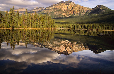 Lake Minnewanka reflections.  Canadaian Rockies,  Jasper NP,  Canadia.  1998.