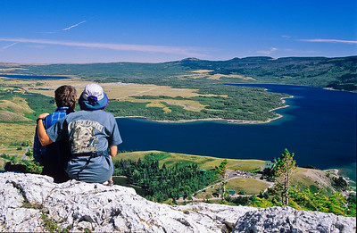 Richard and Twink enjoy overview at Waterton lakes.    Alberta,  Canadia.  1998.