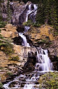 Road side waterfall near Pento lake.  Icefields parkway,  Alberta,  Canadia.  1998.